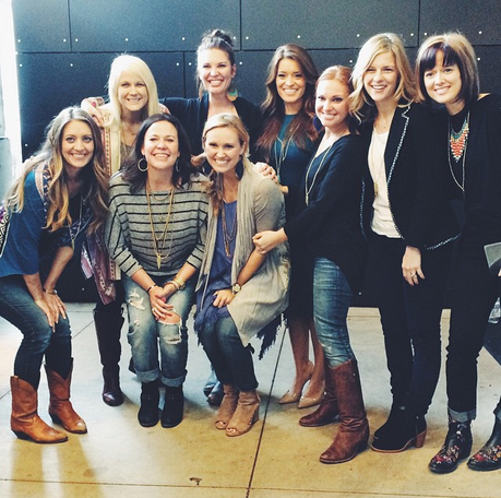 L-R: Lauren Chandler, Esther Havens, Lindsey Nobles, Jen Hatmaker, Jennie Allen, me, Angie Smith, Rebekah Lyons, Ann Voskamp. [Missing: Christine Caine, Shelley Giglio, Debbie Eaton]